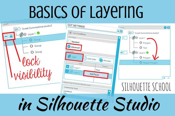 silhouette 101, silhouette america blog, layers function, Silhouette Studio designer edition tutorials, Silhouette Design Studio tutorials