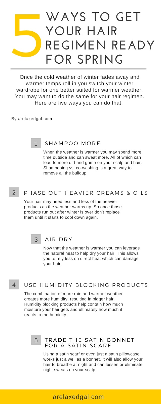 With the coming of spring comes longer days, more sun, warmer weather and possibly more rain showers. With each changing season I like to evaluate the hair care products I use and see if anything needs to be put phased out or if I need to a new product. | arelaxedgal.com