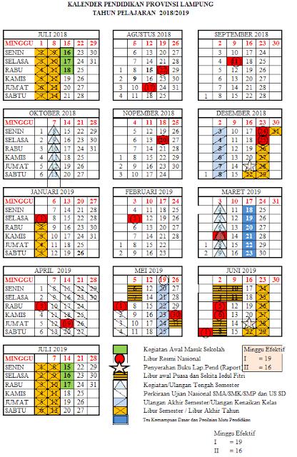 Kalender Pendidikan 2018/2019 Provinsi Lampung