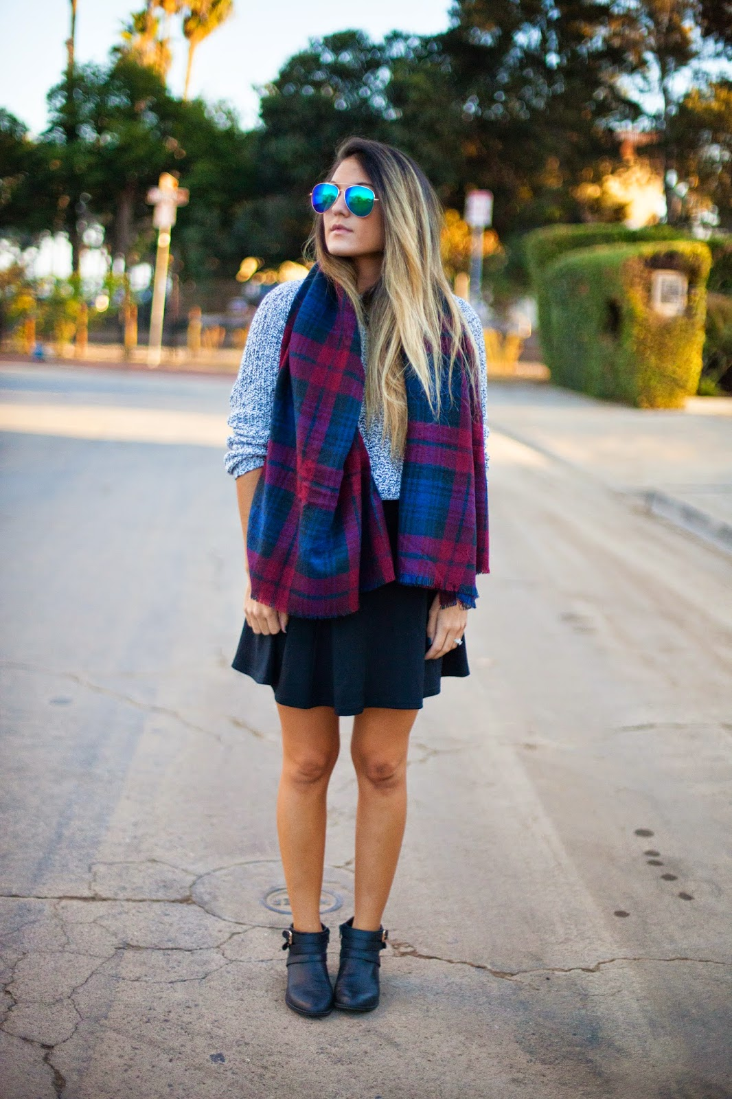 plaid scarf and booties fashion