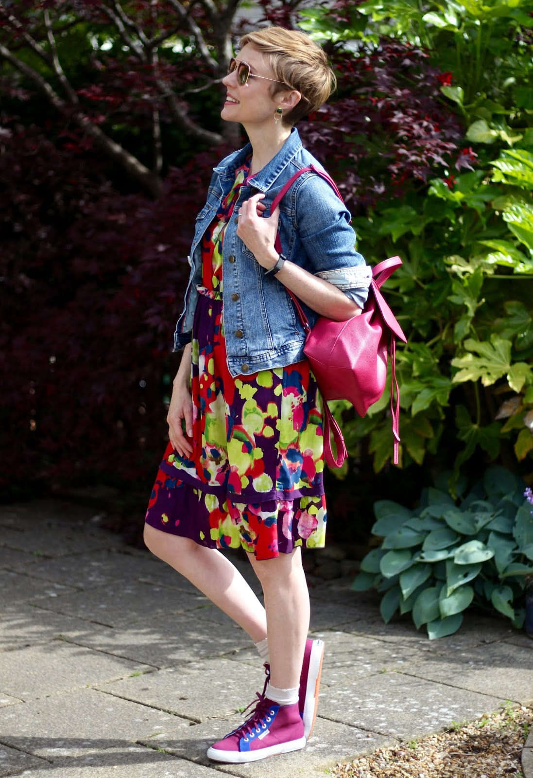 Floral dress, Denim Jacket and Supergas | Fake Fabulous