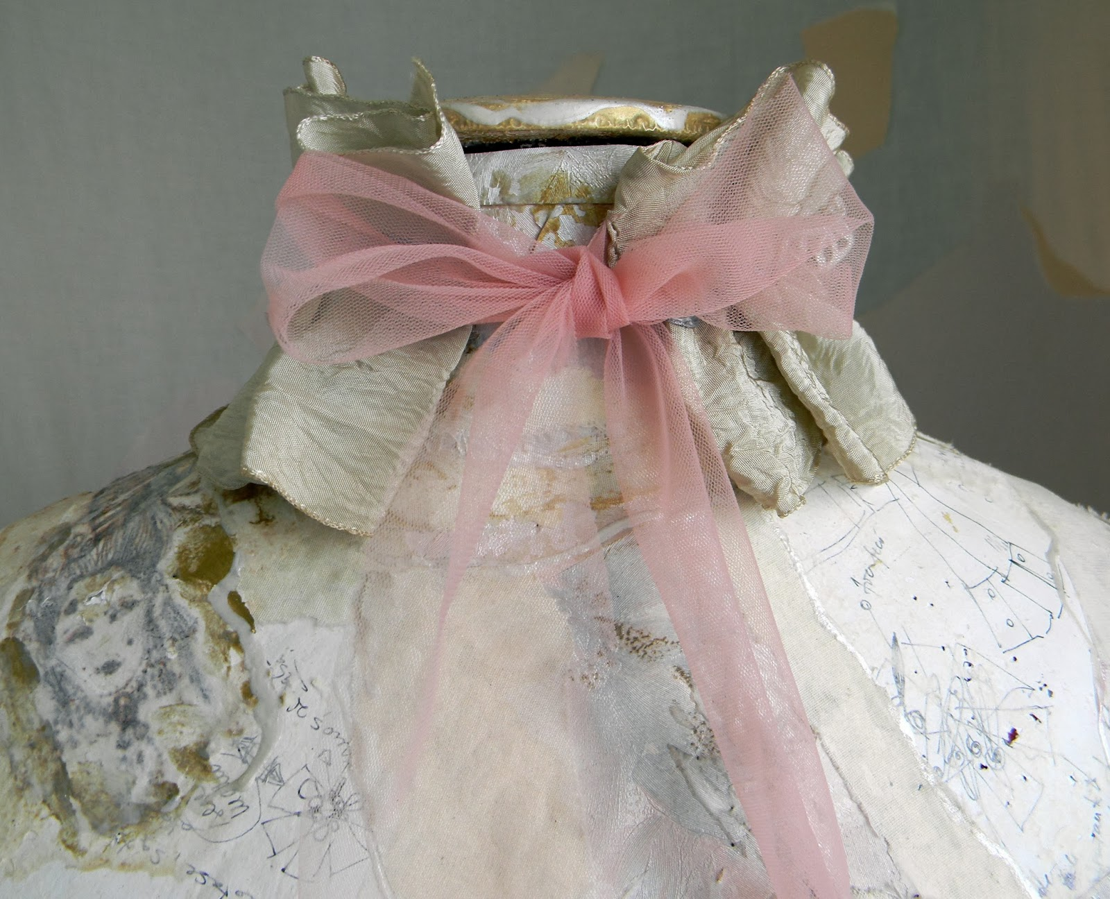 Ethereal Fashion Choker Ruffled Neck Corset in Delicate Textile Pastels