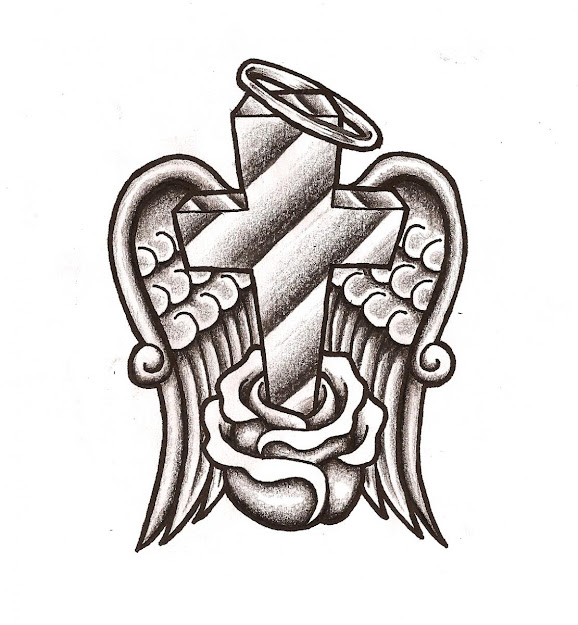 Cross With Roses Coloring Pages Image Cross With Wings
