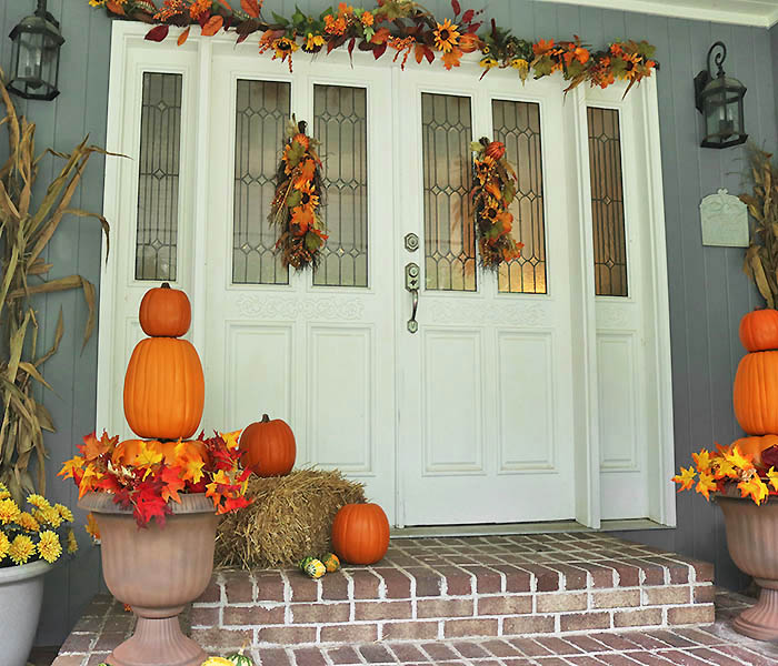 Front Door Topiary: Pumpkin Topiaries DIY And Fall Front Door Decorations With