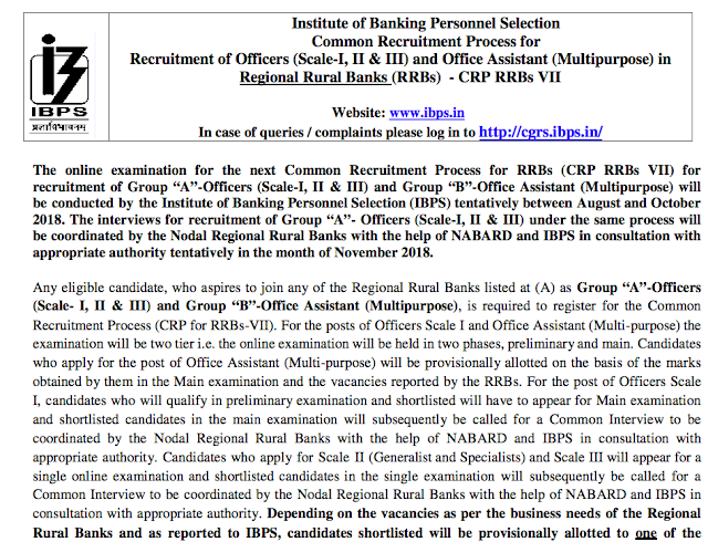 IBPS RRB VII Recruitment Notification PDF