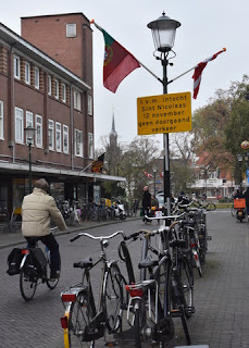 Sign announcing no through traffic on 12 November, for the arrival of Sinterklaas, Zaandam, The Netherlands