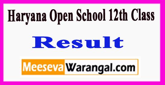 Haryana Open School 12th Class Result 2018