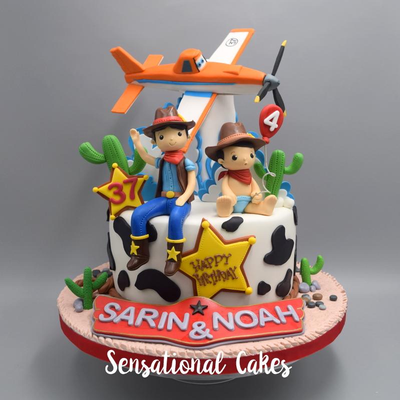 The Sensational Cakes Planes Theme 3d Cake Along With Cowboy