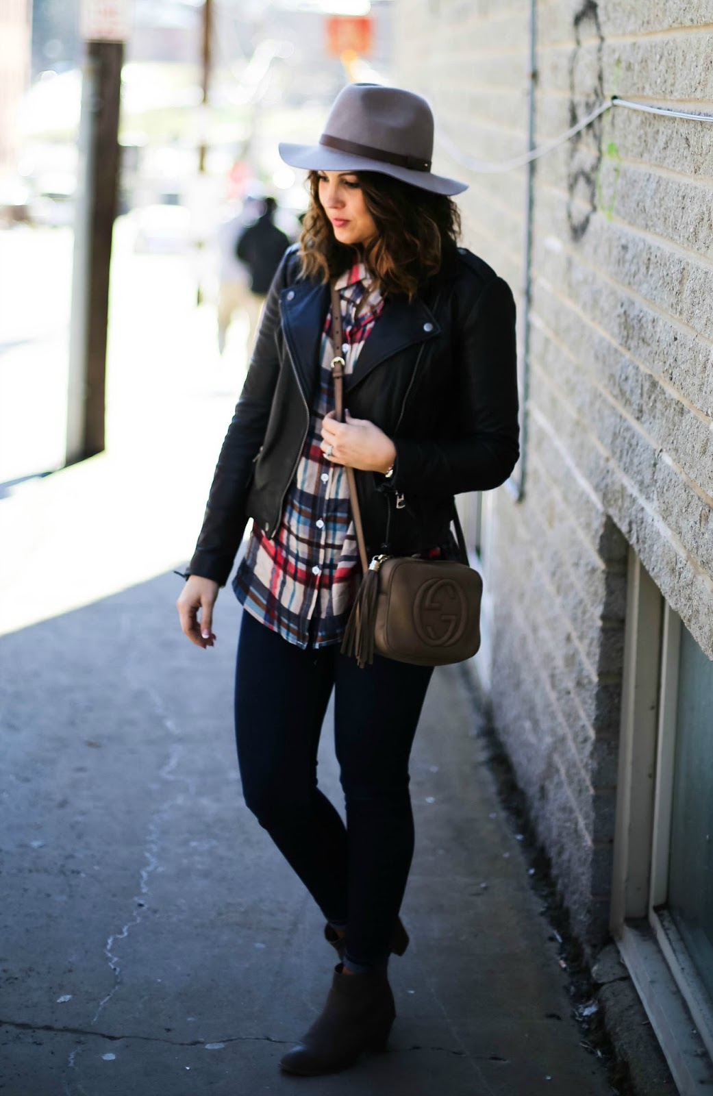 plaid tunic shirt, leather moto jacket, gucci soho disco
