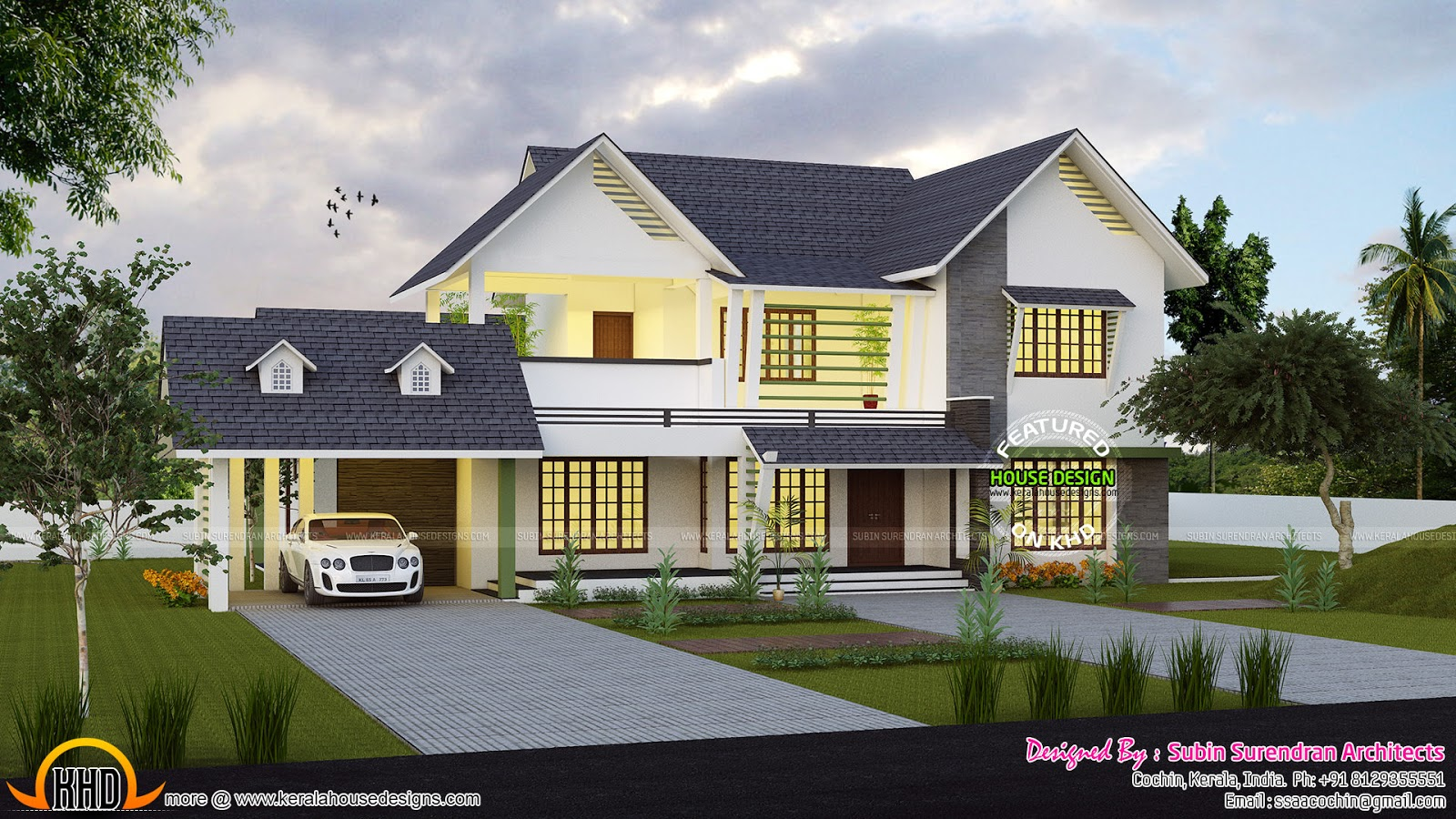 Cute western style home architecture kerala home design for Western home plans