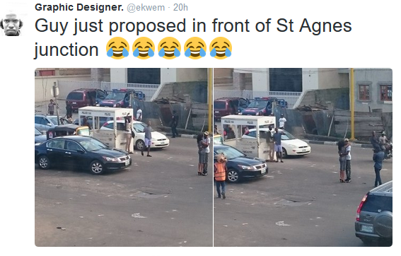 3 Photos: Man proposes to his girlfriend in traffic at Agnes junction, Yaba