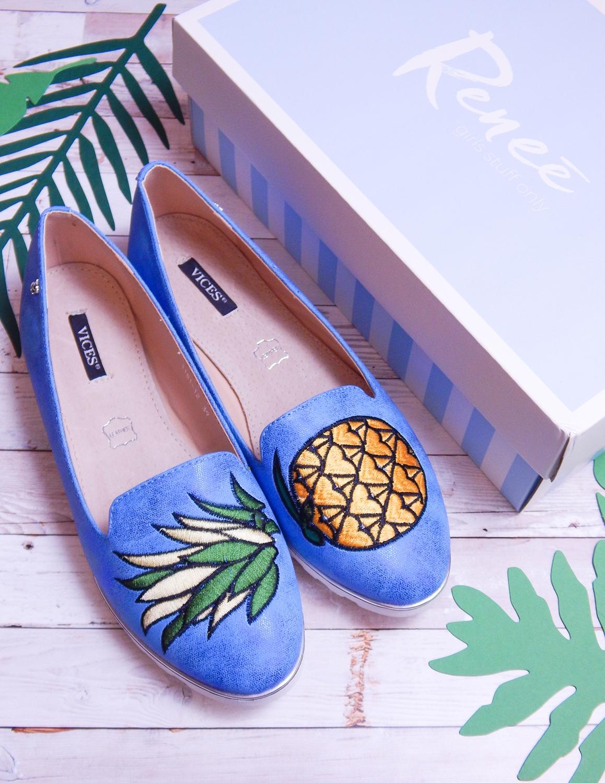 9 renee jasnoniebieskie mokasyny pineapple ananas buty obuwie renee obuwie damskie półbuty buty na wakacje wygodne z aplikacjami wyszywane vices recenzja partybox gadżety na stół urodzinowy