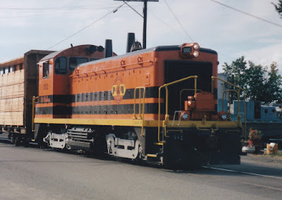 "Portland & Western SW1200R #1202 ""St. Helens"" in Rainier, Oregon, in Summer 1997"
