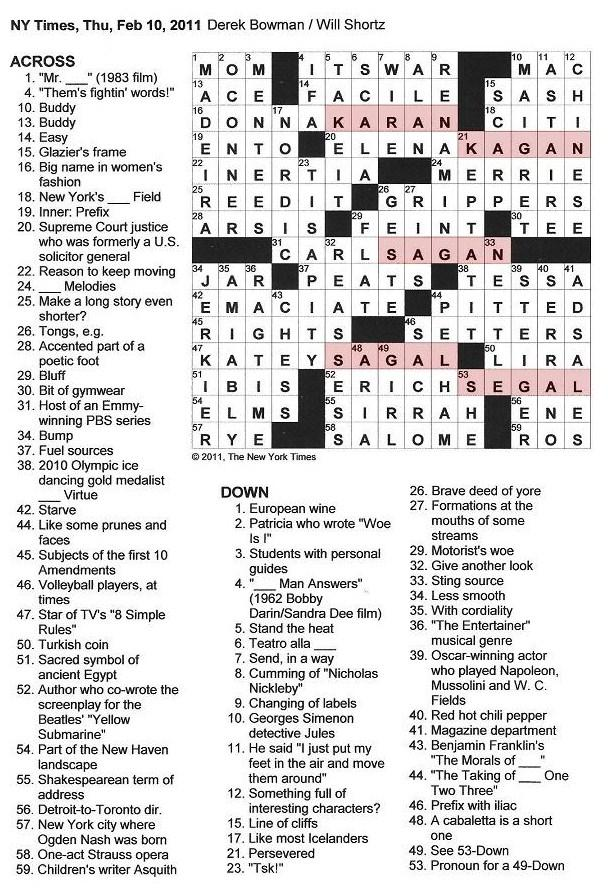The New York Times Crossword in Gothic: 02.10.11 — Ladder