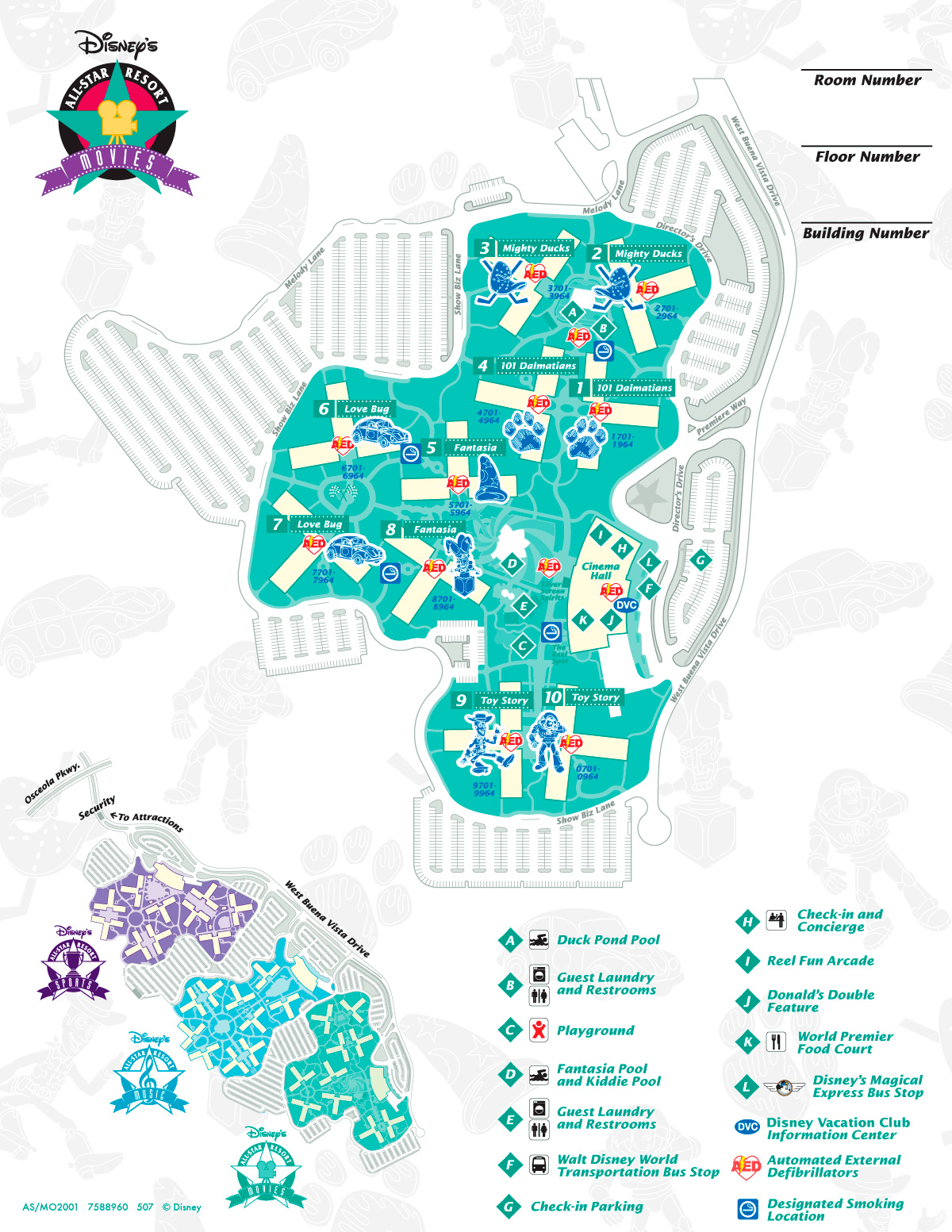 Mapa Disney's All Star Movies.