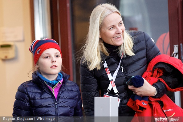 Princess Ingrid Alexandra of Norway and Crown Princess Mette-Marit of Norway attend the FIS Nordic World Ski Championships
