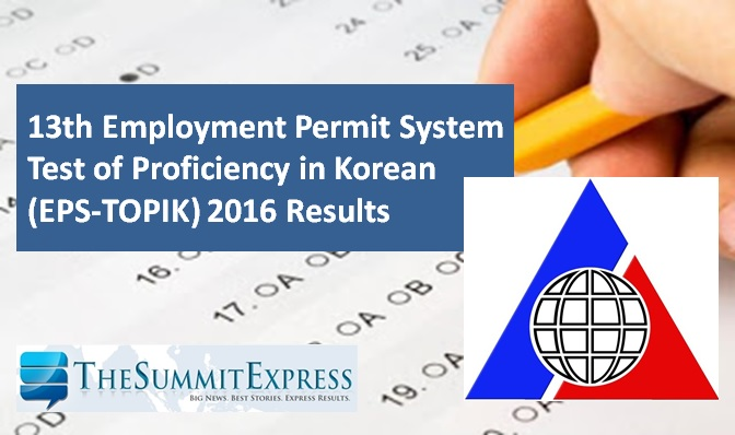 13th Test of Proficiency in Korean (EPS-TOPIK) Exam 2016