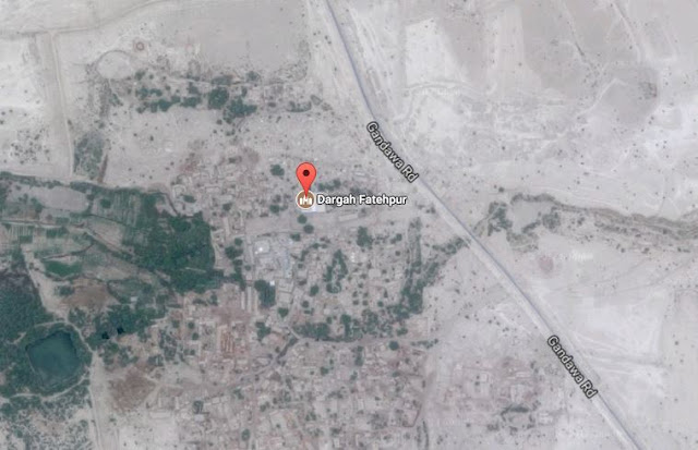 Map Attribute: Dargah Fatehpur, Off Gandawa Road, Jhal Magsi District, 300 km East of Quetta, Balochistan, Pakistan / Source: Google Maps / Latitude & Longitude: 28.5710065, 67.4967752