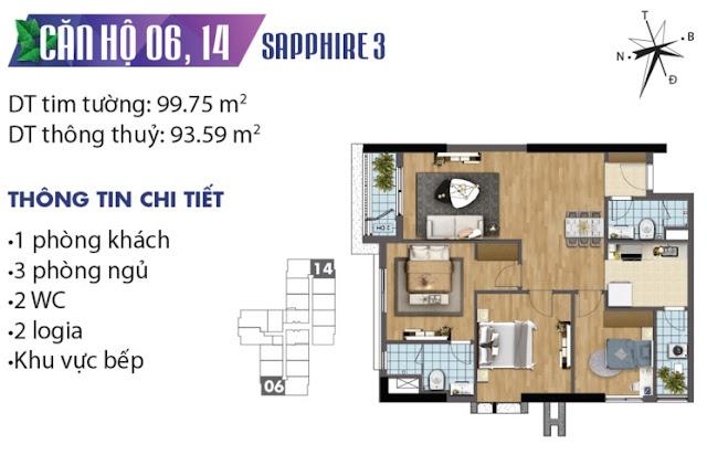 Thiết kế căn hộ số 6 và 14 tòa Sapphire 3
