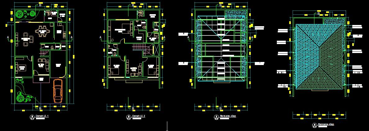Gratis download desain dwg rumah 180 autocad: mewah rumah Rumah type