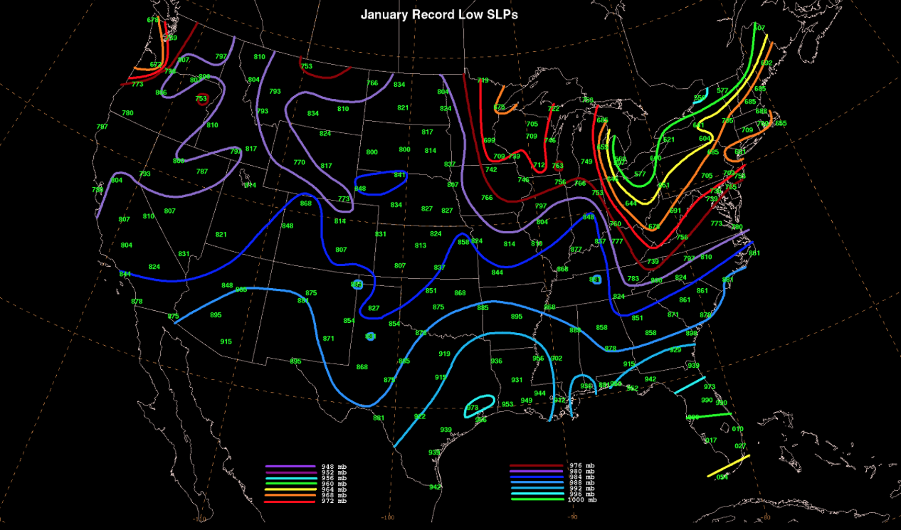 january record low sea level pressures some of these records may fall if the southern storm drops below 990 mb lower pressure equals stronger storm