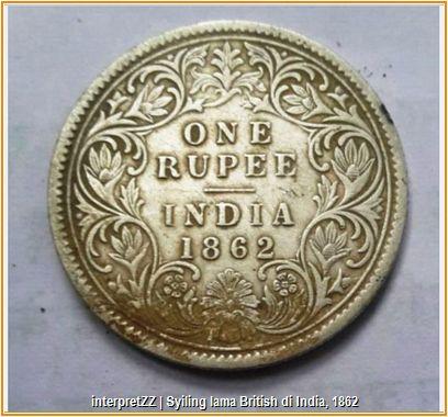 Duit syiling lama British tahun 1862 dengan gambar Queen Elizabeth