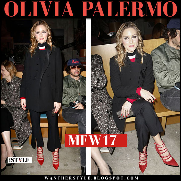 Olivia Palermo in black coat, black pants and red suede gianvito rossi strappy pumps milan fashion week what she wore