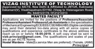 VIT Assistant Professor Jobs in Vizag Institute of Technology 2019 Recruitment, Visakhapatnam