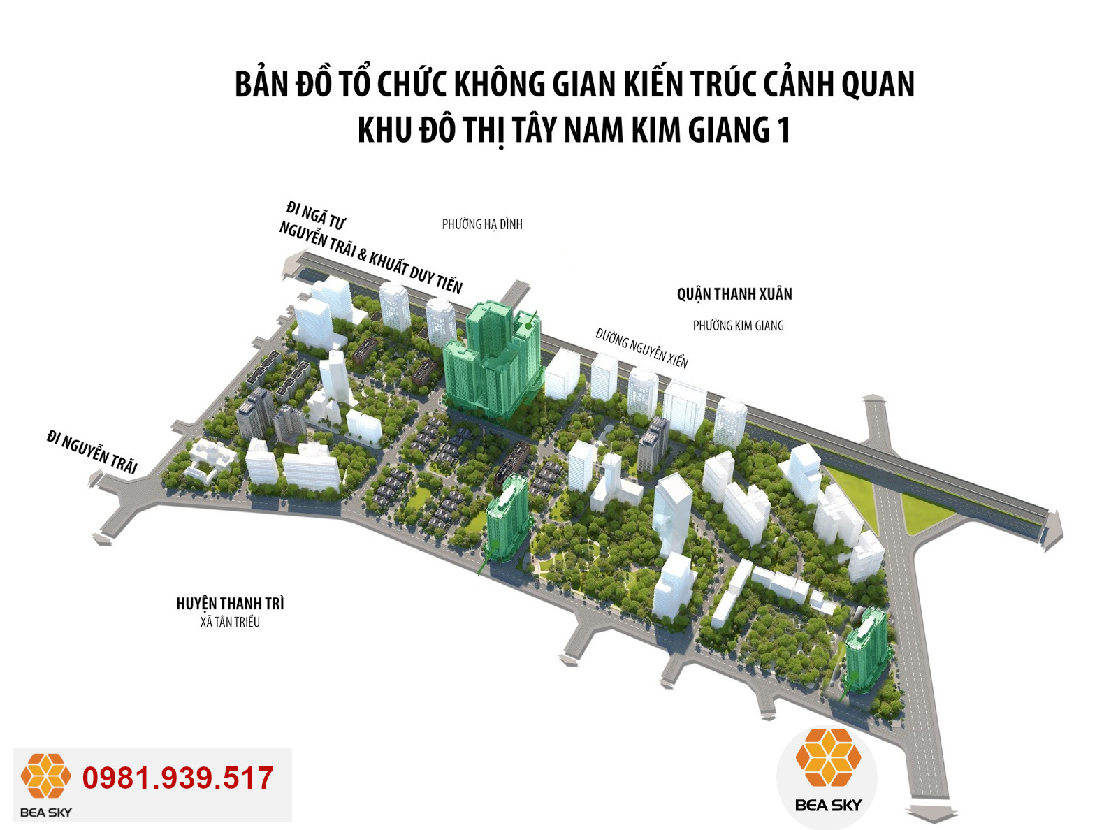 Vị trí Dự Án Bea Sky trong KĐT Tây Nam Kim Giang