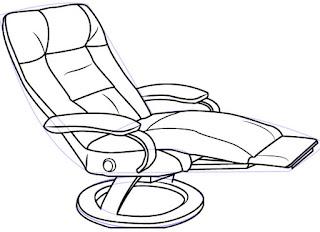 Cara mudah menggambar atau sketsa Recliner (Sofa)