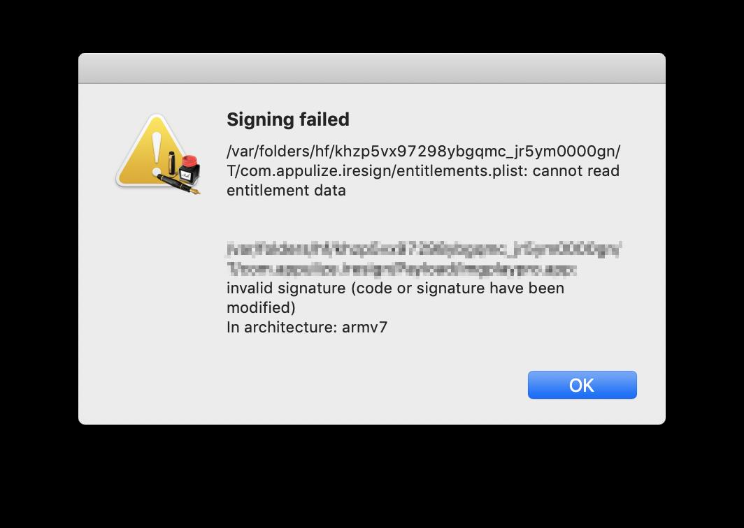 Come rifirmare un'ipa con un certificato Developer