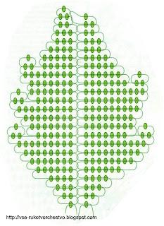 Схема плетения листа хризантемы