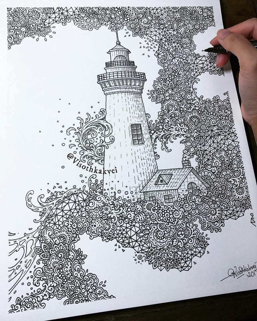 02-Lighthouse-Visoth-Kakvei-Detailed-Drawings-with-many-Styles-www-designstack-co
