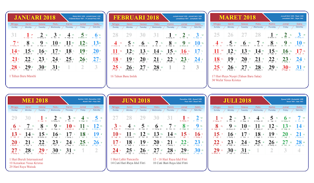 Download Kalender 2018 lengkap File CDR, PSD, PNG, JPG dan PDF