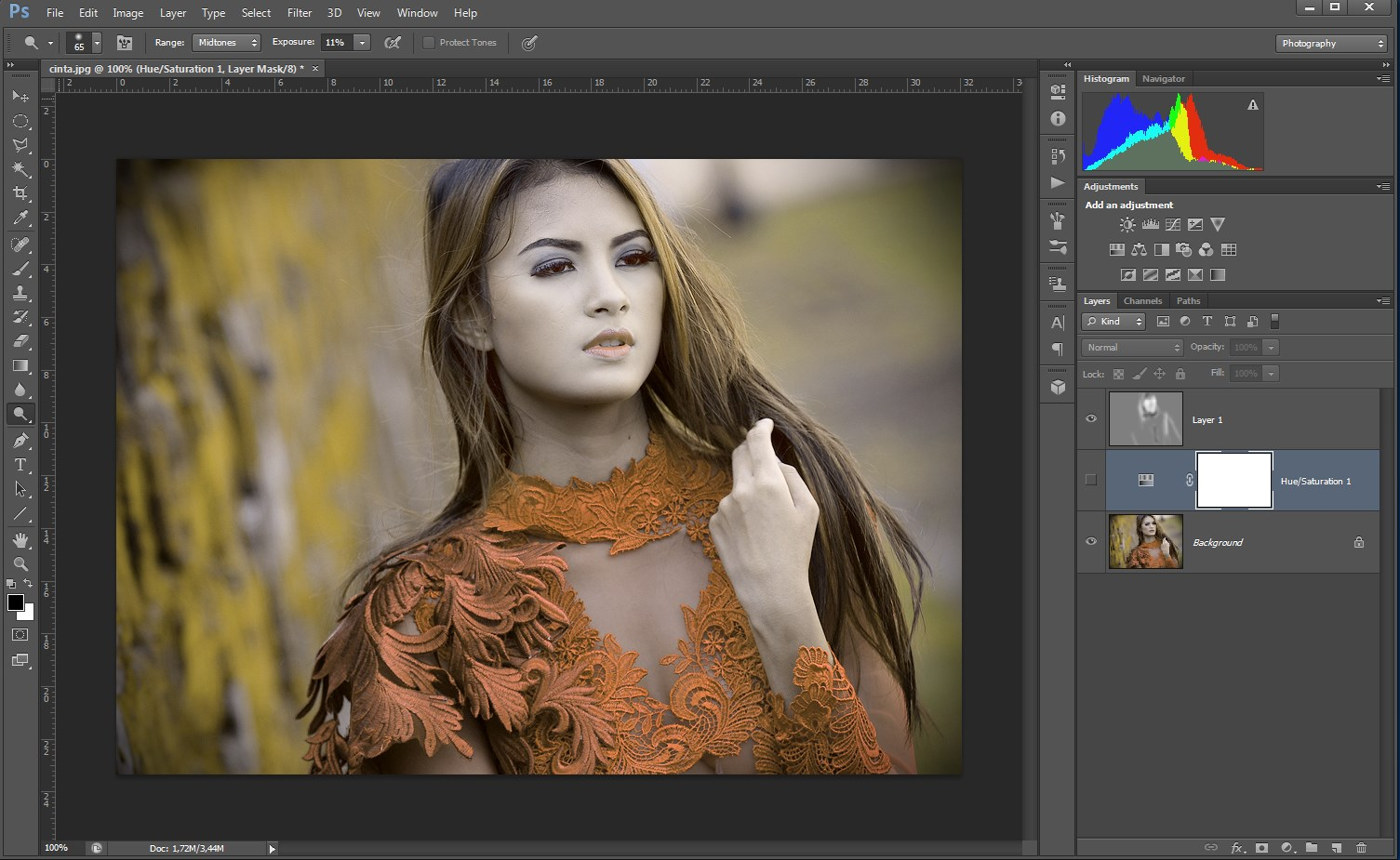 cara mengedit foto dengan tool dodge and burn pada photoshop