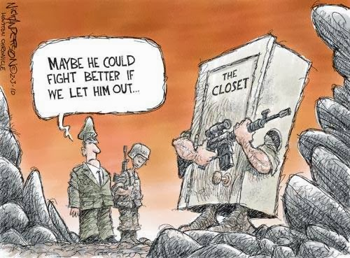 Funny Gay Military Army Soldier Cartoon Image - Maybe he could fight better if we let him out of the closet