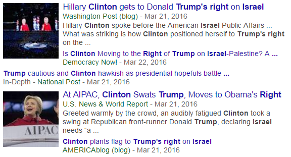 a screenshot of a Google News search in which four separate articles make mention of Hillary being rightward in relation to Trump