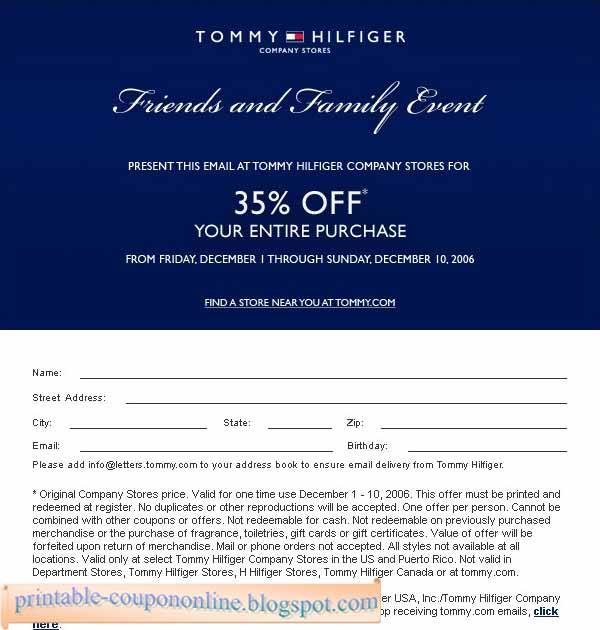 Printable Coupons 2020 Tommy Hilfiger Coupons