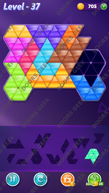 Block! Triangle Puzzle Challenger Level 37 Solution, Cheats, Walkthrough for Android, iPhone, iPad and iPod