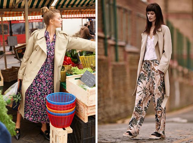 Тренч с платьем и брюками с цветочным принтом