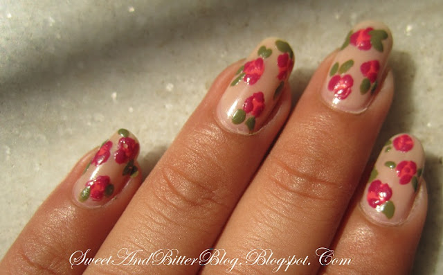 Vintage Roses Nail Art with Tutorial
