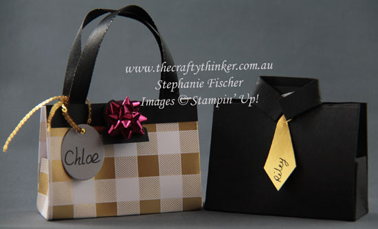 #thecraftythinker, #tablefavours, #cardmaking, #stampinup, #christmas, Christmas Table Favours, Handbag table favour, Shirt & Tie table favour, Stampin' Up Australia Demonstrator, Stephanie Fischer, Sydney NSW