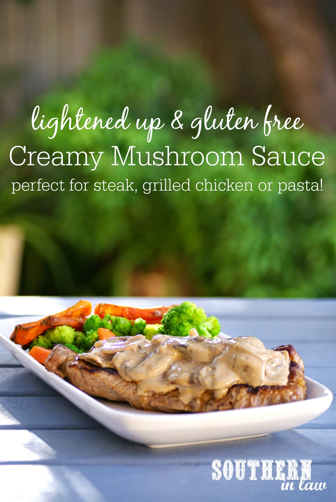 Gluten Free Creamy Mushroom Sauce Recipe - low fat, gluten free, clean eating friendly, low carb, healthy, lightened up