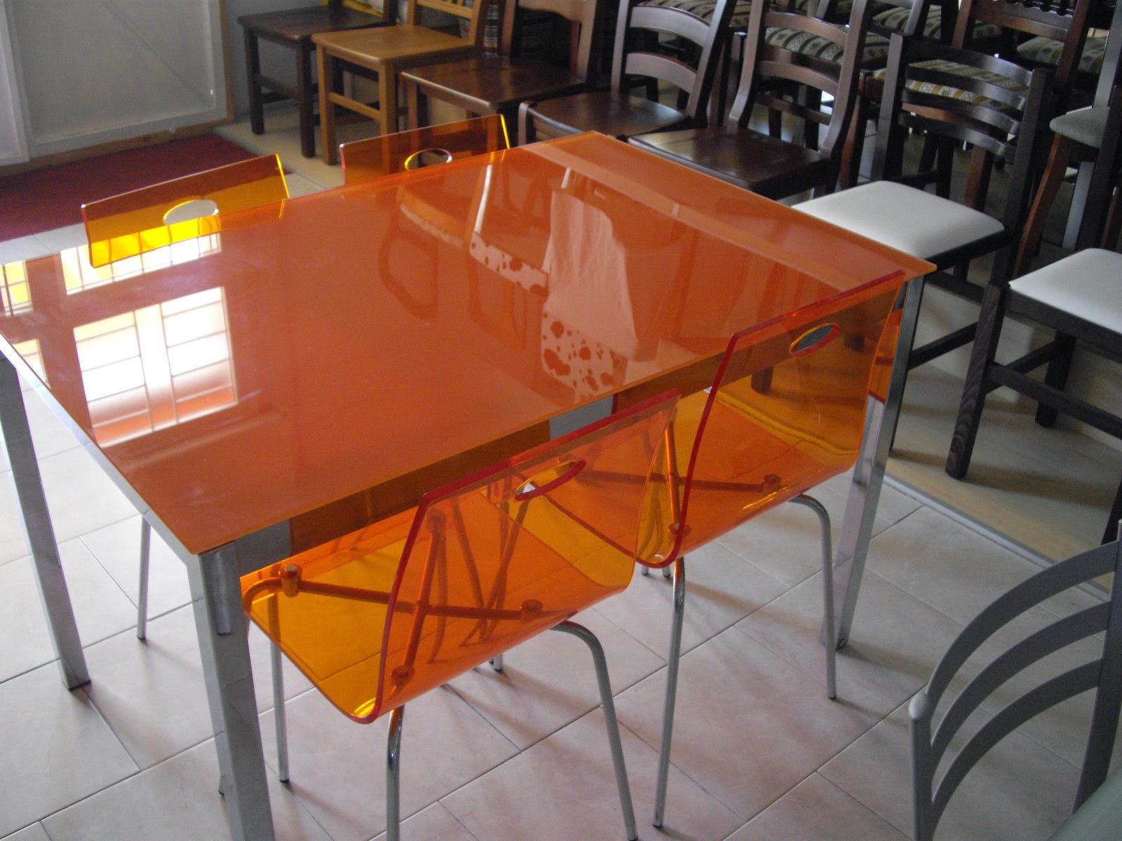 Tavolo Cucina Allungabile Vetro.Set Tavolo In Vetro Allungabile Con 4 Sedie Metacrill Arancio