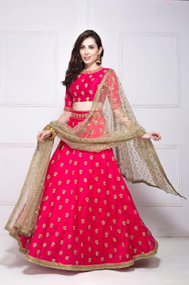 Indian Beauty In Pink Embroidered Lehenga.
