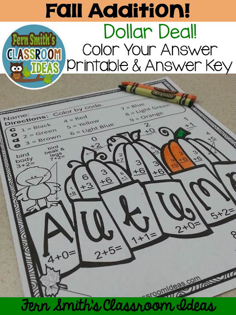 Fern Smith's Classroom Ideas Dollar Deals for Halloween and Fall Fun! Basic Addition and Subtraction - Color Your Answers Printables at Teacherspayteachers.