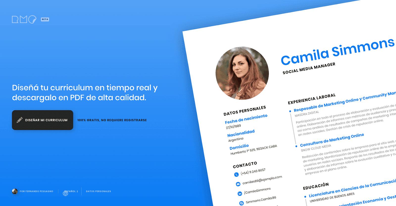 crea un curr u00edculum en l u00ednea y gratis con resumemaker