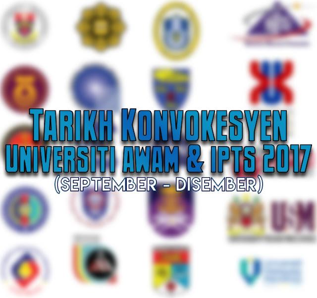 Tarikh Konvokesyen Universiti Awam 2017