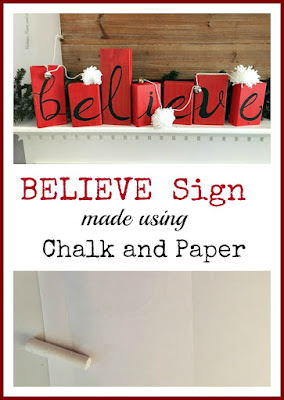 Vintage Paint and more... making a rustic wood sign using scrap pieces of painted 2x4's and tracing a pattern on them with chalk then painting each letter