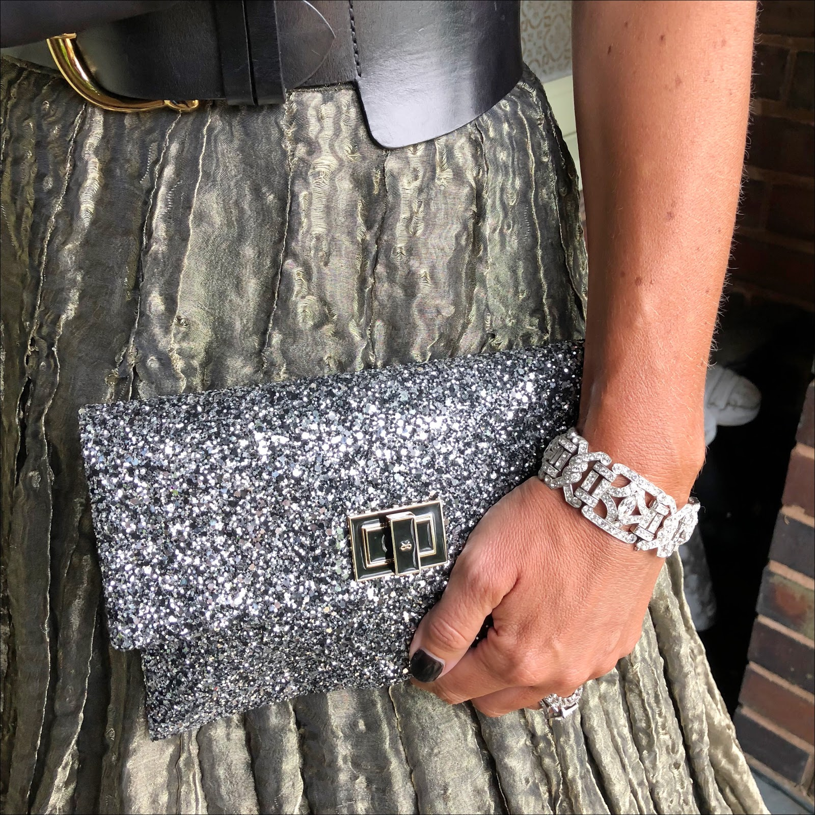 my midlife fashion, j crew halterneck top, and other stories waist buckle belt, anya hindmarch glitter clutch, bliss soles court shoes, giorgio armani couture maxi skirt